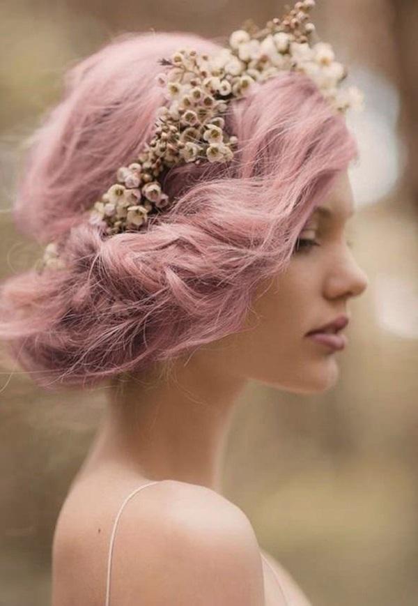розовые волосы на свадьбу