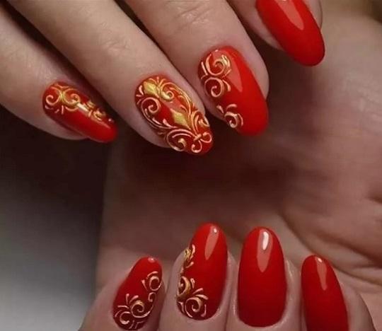 красно-золотой цвет лака для ногтей