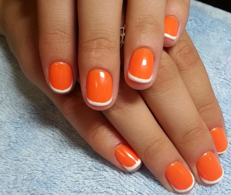 оранжевый френч короткие ногти