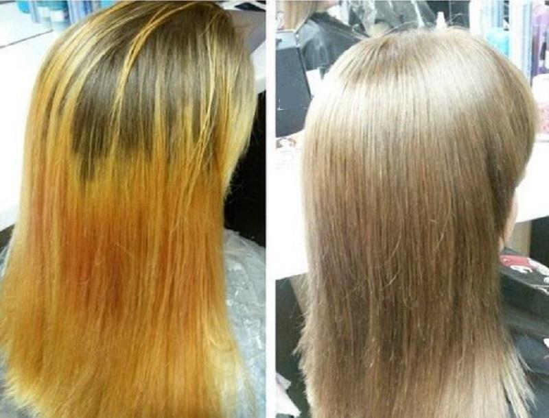 смывка волос до и после